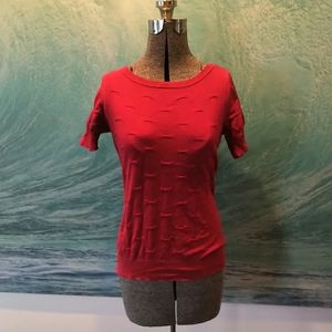 Red textured short sleeve sweater